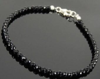 ON SALE NOW Men's Women 3mm Faceted Black Onyx 925 Sterling Silver Bracelet DiyNotion Handmade Br871