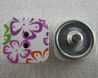 Snap button salver multicolored flowers