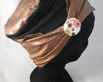 Bas085 - Black and Brown chemo hat and detachable headband
