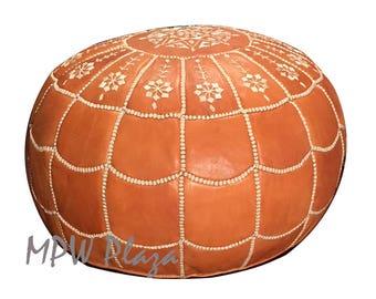 Arch design Moroccan Leather Pouf/Ottoman