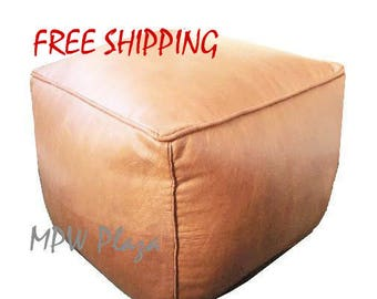 Square Leather Moroccan Pouf / Ottoman