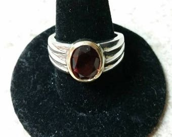 Summer Sale Vintage Garnet 14 k Gold with Silver Ribbed Band Ladies Ring Size 9 Free Domestic Shipping