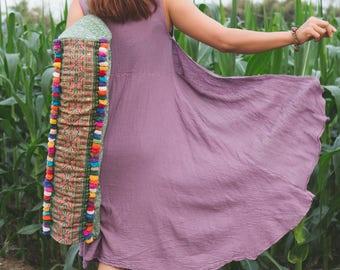 Thai Artisanal Yoga Mat Bag in Green, Hill Tribe Hmong Embroidered Yoga Mat Bag, Handcrafted Pom Pom Yoga Bag, Gift for Her - BG523BAGRE