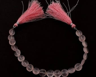 Christmas in July 1 Strand Rose Quartz  Faceted Coin Briolettes - Rose Quartz Coin Beads 9mm 7.5 inches SB1349
