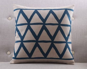 Decorative pillow, cushion cover blue triangle geometrichome throw pillow shell customized size