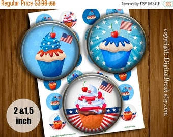 SALE 50% Digital Collage Sheet 4th JULY CUPCAKES 2 inch 1.5 inch Printable circle images for Pocket Mirrors Magnets Labels - 165