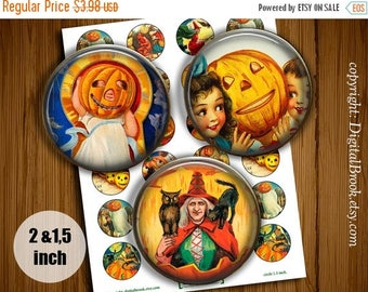 SALE 50% Vintage Halloween #2 Digital Collage Sheet 2 inch 1.5 inch Printable circle images for Pocket Mirrors Magnets Labels - 271