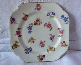 """1930s Floral Sprig China Tea Plate 6"""""""