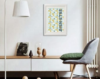 poster with geometric pattern, in scandinavian style to trend tendance