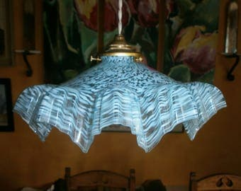 Original Vintage French light shade,  mottled blue glass, pendant, ceiling, Art Deco,  Antique fixture, Shabby/Chateau Chic, 1920's/30's,