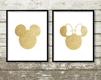 """Gold Glitter Mickey and Minnie Silhouette,  5x7"""" 8x10"""" incld., DIGITAL PRINTABLE Files, Gold Sparkle, Disney Decor, Mickey Clubhouse"""