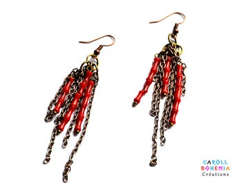 Earrings dangle red coral effect, thin copper chains