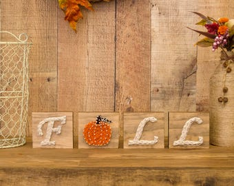 Fall Sign - Pumpkin String Art - Fall Decor - Letter Blocks - Rustic Fall Decor - Autumn Decor - Farmhouse Decor - Country Decor - Wood Sign