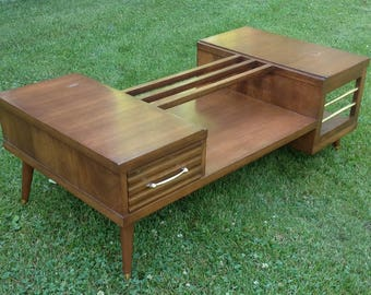 Midcentury 2 tier coffee table / brown wood finish / retro style