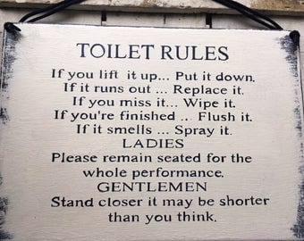 Bathroom Signs Rules toilet rules sign | etsy