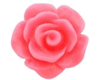 Rose beads, acrylic beads, plastic beads-matt-10 pcs.-Color selectable (color: pink)