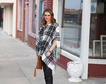 Monogrammed Poncho   Monogrammed Cape   Convertible Scarf   Plaid Poncho   Christmas Gift   Gift for Her   Monogrammed Gift   Gifts Under 50