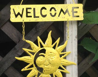 Glittery Celestial Welcome Sign / Yellow Metal Sun Face / Metal Yard Art / Outdoor Garden Patio Fence Decor