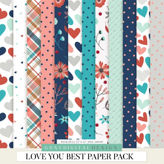 Valentine Pattern Paper Love Digital Paper Love Patterns Love Art