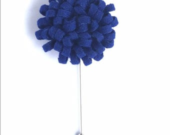 Blueberry Dandelion Felt Flower Lapel Pin