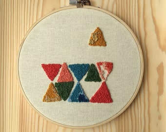 Modern Triangles Embroidery Hoop Art