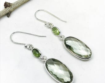Green amethyst, peridot earrings set in sterling silver 92.5. Natural authentic stones. Perfectly matched