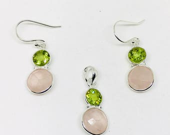Rose quartz, peridot earring and pendant/necklaces set in sterling silver 925. Natural authentic stones.