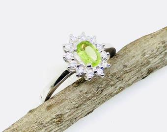 Peridotand white zircon ring set in sterling silver 92.5. Natural authentic stone. Size -6 1/2. August birthstone