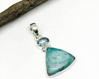 10% Amazonite, blue topaz pendant, necklaces set in sterling silver 92.5. Natural authentic stones. Length- 2 inch. One of its kind.