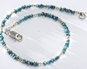 Blue Diamond Bracelet for Men, 10th Anniversary Luxury Gift, Unique Fine Jewelry by Reky, Birthstone April, Wedding Christmas Birthday Gift