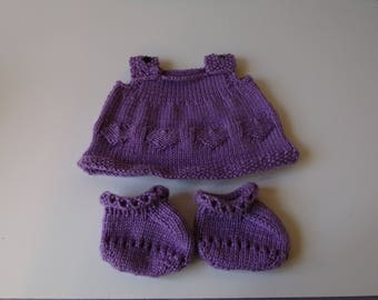 Knitted Pinafore Dress and Booties