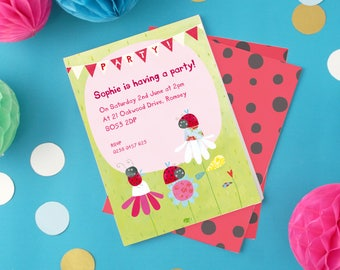 Personalised Girl's Ladybird Party Invitations -- Minimum order 8