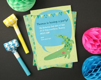 Personalised Crocodile Party Invitations -- Minimum order 8