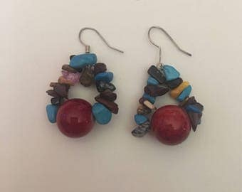 Colorful blue and red stone chunky hook earrings
