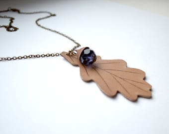 necklace leather autumn oak leaves, Woodland Necklace, necklace natural, romantic nature lover necklace .