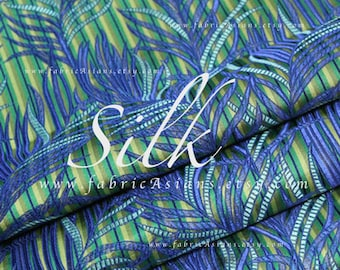 Tropical ferns leaves green blue brocade fabric by the yard
