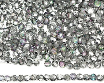 600 Crystal Vitrail Light Silver coated 3mm, Preciosa Czech Fire Polished Round Faceted Glass Beads, Czech Glass Fire Polish Beads, loose