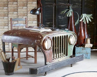 Unique Office Desk Willys Jeep Desk Upcycled Shop Counter made From Reclaimed Jeeps