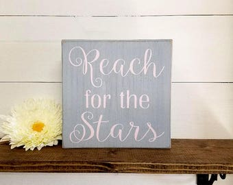 Reach For The Stars- Wood Block Baby/Nursery/Kids Room Decor-Baby Gift-Shower Gift-Birthday Gift-Country Decor