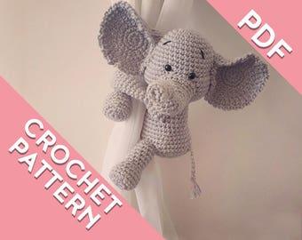 Elephant curtain tie back crochet PATTERN, left or right side PDF instant download, tieback amigurumi PATTERN