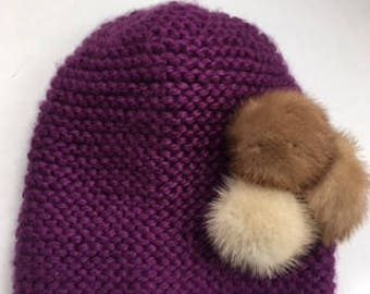 Purple Hand-Knit Cloche | Cloche w/ Fur Embellishment | Mink Embellished Winter Hat | Wool-Blend Cloche w/ Mink Pom Poms | Ready to Ship