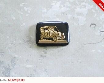 ON SALE Vintage Black Gold Glass Ford Model A Roadster Intaglio Antique Ford Roadster Flat Back Cabochons 27mm (1 pc) 29V4
