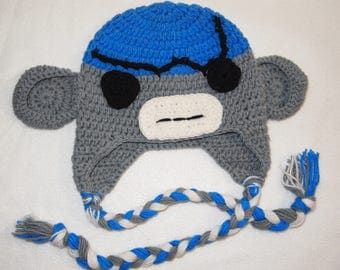 size 4 blue gray black Crochet hat angry with scar SOCK MONKEY Hat