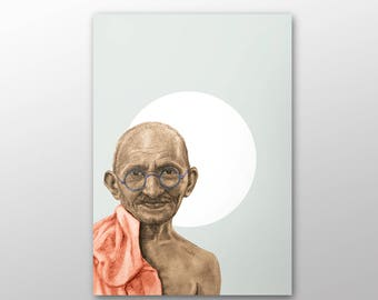 canvas print, Portrait painting, Ghandi portrait, Ghandi, gandhi portrait,  wall art decor print, art prints, inspirational wall art, gandhi