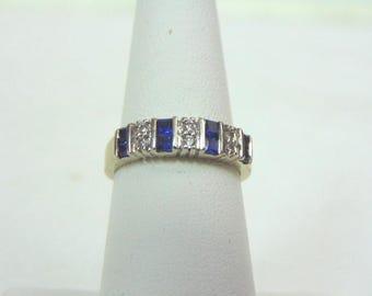 Womens  Estate 14K White Gold Band Ring w/ Blue Sapphires & Diamonds 4.1g E3362