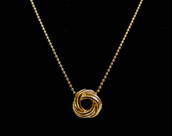 Vintage Estate 14K Yellow Gold Fine Bead Necklace with Pendant 4.0g E1187