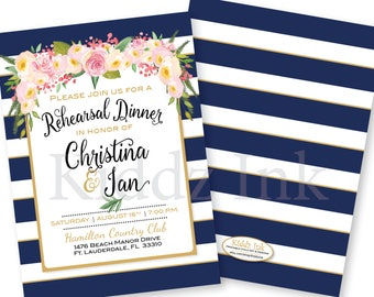 Rehearsal Dinner Invitation | Navy and White Stripes with Blush and Cream Flowers | Gold | 5x7 | Personalized | DIGITAL PRINTABLE Files