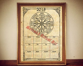2017 Calendar with Wheel of the Year, occult calendar, pagan calendar, print, magic calendar, occult print, magic decor, magic print