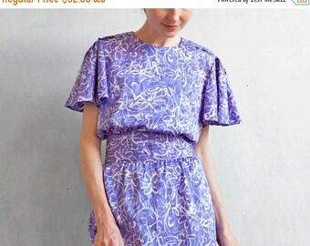 Lavanda dress / bell sleeves dress / violet dress / purple dress / lavanda and white day dress / abstract print dress