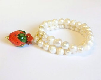 Bracelet with pearls and ceramics